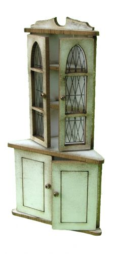 1/24th Glazed Corner Tall Cupboard