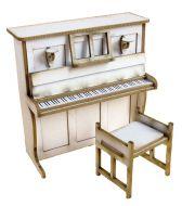 1/24th Upright Piano & Stool