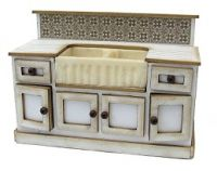 1:24th Double Sink Cabinet with opening cupboards & false draws.