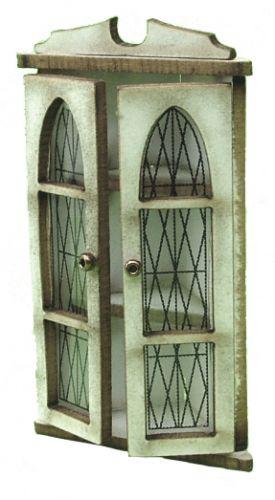 1:24th Corner Glazed Wall Cupboard