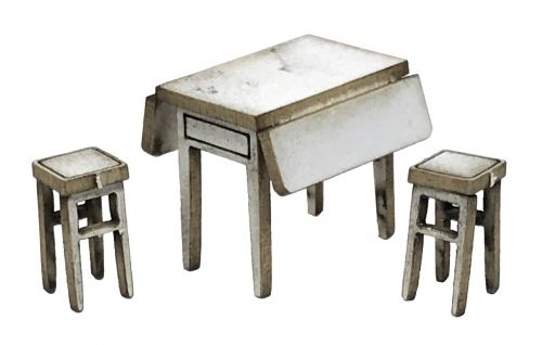 1:48th Retro Table & Stools