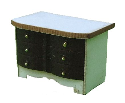 1:48th Shabby Chic Fluted Chest of Drawers