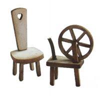 1/48th Spinning Wheel & Stool