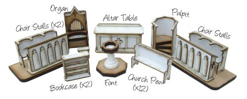 St Thomas Church Furniture Pack 1/48th Scale