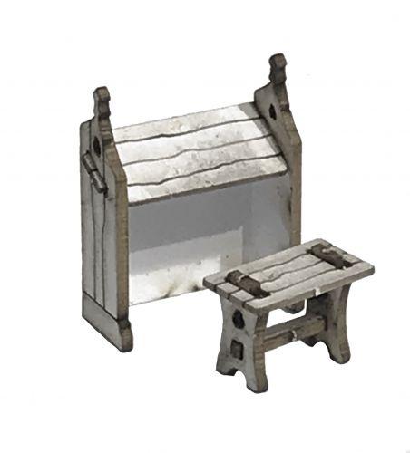 1:48th Tudor Desk & Stool